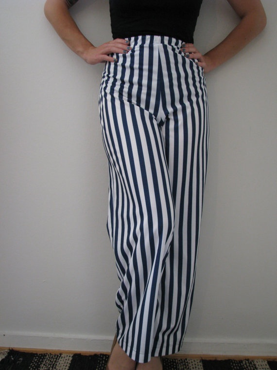 90s Finnkarelia High Waisted Sailorette Capri Pants w/ Blue and White Stripes