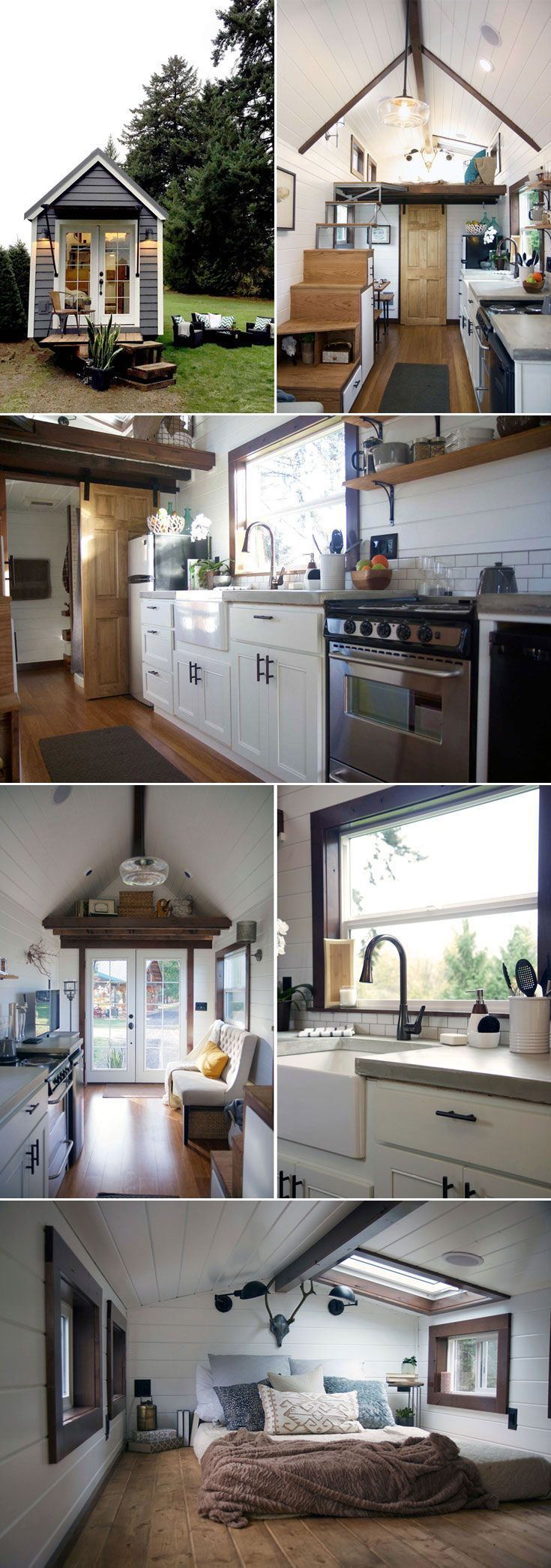 """A luxurious 24' tiny house created by Portland-based Tiny Heirloom, the team from HGTV's Tiny Luxury.  The kitchen features a large farm sink, concrete countertops, an apartment size refrigerator, and a 24"""" four-burner electric range."""