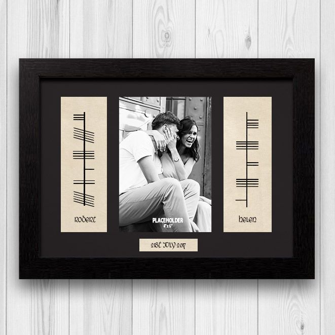 Ogham Personalised Engagement Gift & Picture – A beautiful and personalised gift that consists of, the couples names in ancient Irish Ogham scripture...