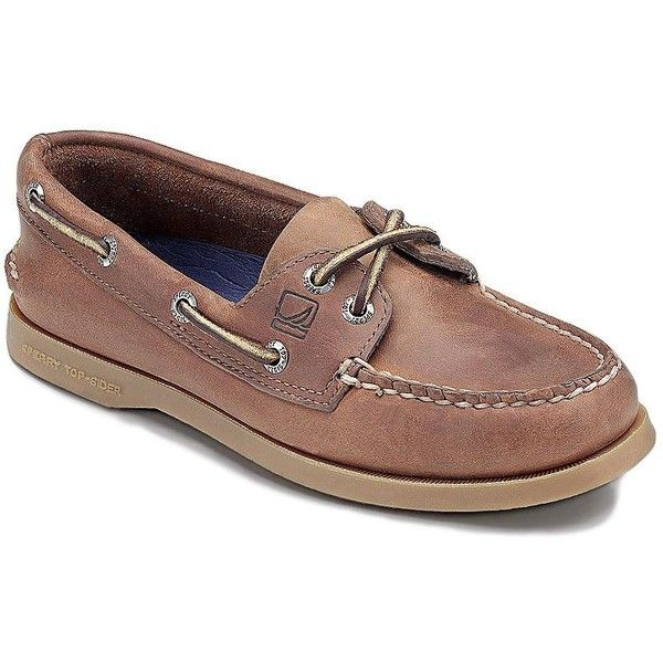 Sperry Women's AO Leather Boat Shoes (1 225 ZAR) ❤ liked on Polyvore featuring shoes, loafers, nutmeg, sperry shoes, rubber sole shoes, sperry top-sider shoes, cushioned shoes and laced shoes