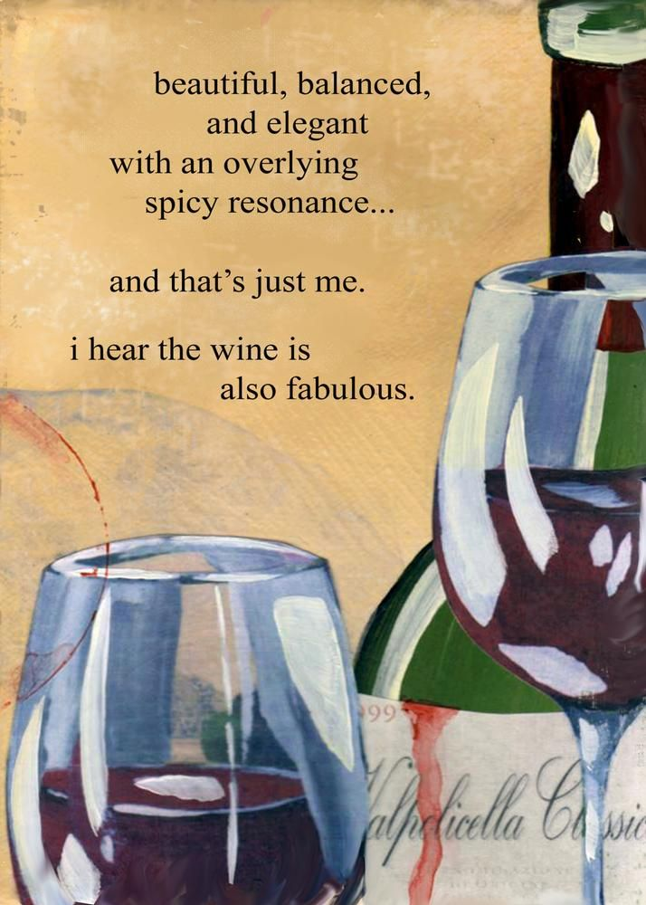 "Wine Funnies - ""I hear the Wine is also Fabulous...."" (Wine Bottle & glass Art Illustration Quotes) (Wine Words) #cOrange"