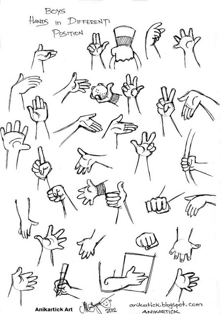 Cartoon Boys Different Hands and poses - Artist Anikartick,anikartick.blogspot.com by Chennaiart, via Flickr