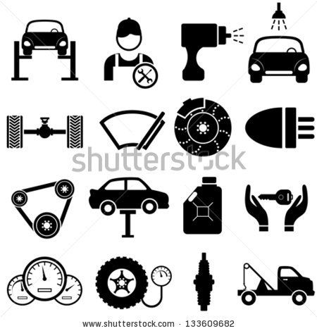 Car Maintenance And Repair Icon Set Stock Vector Auto Parts Pinterest Autos Symbole Und