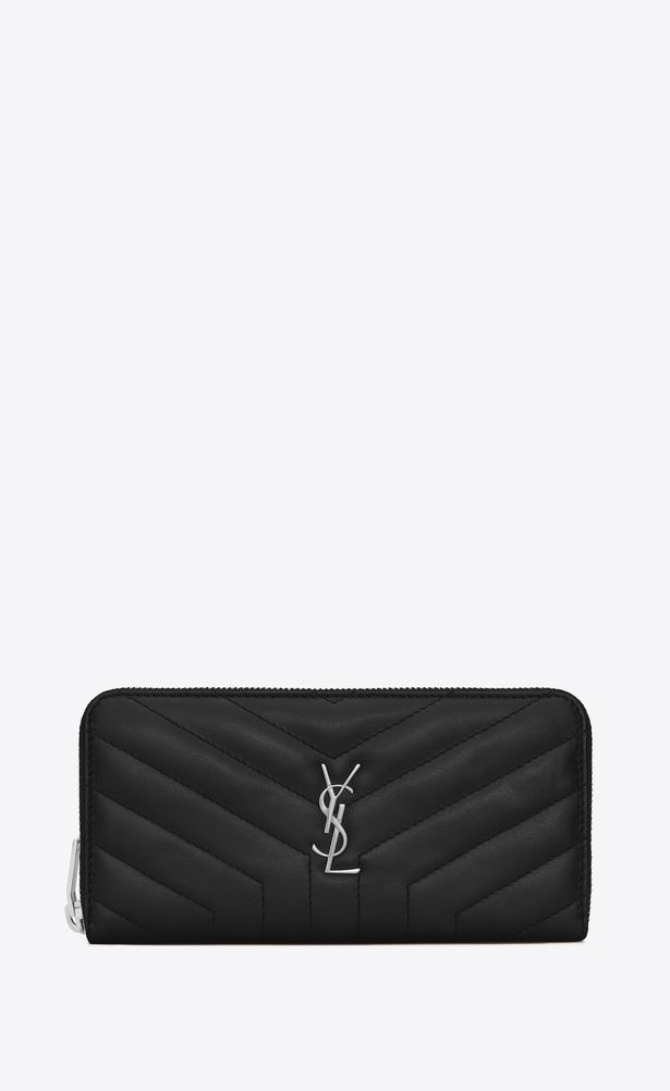 ec0bdd915f1 SAINT LAURENT Loulou SLG Woman LOULOU zip around wallet in shiny black  leather with