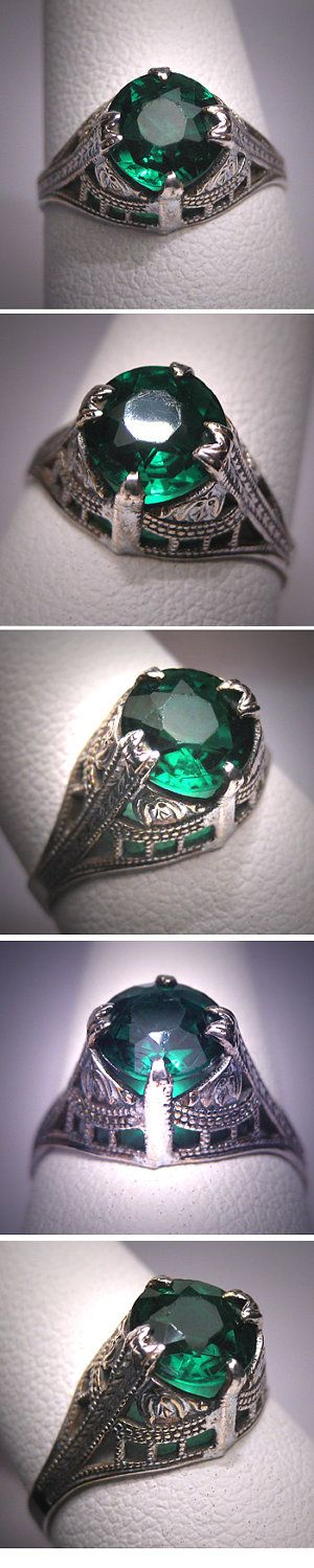 Antique Art Deco Green Garnet Wedding Ring Vintage Band. $395.00, via Etsy.