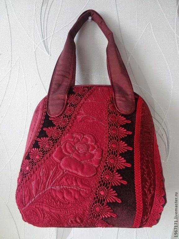 """Купить """" Ракушка - Бордовая """" - бордовый, пэчворк, лоскутная сумка, дамская сумка"""