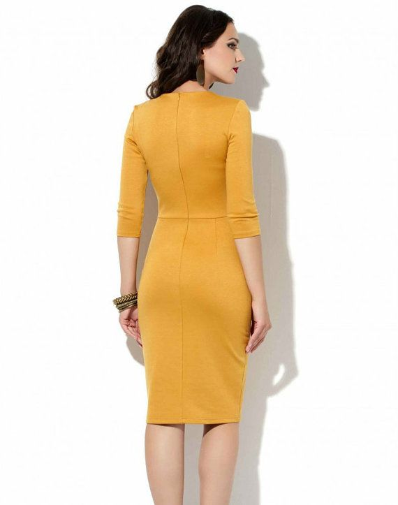 Mustard Office dress Autumn Spring Jersey dress от Annaclothing