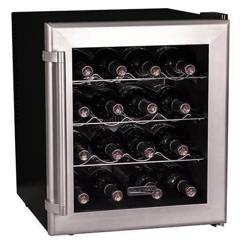 Koldfront TWR160 17 Inch Wide 16 Bottle Wine Cooler with Thermoelectric Cooling, Grey