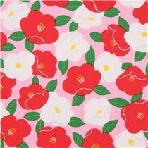 Tela dobby rosa con textura linda flor blanco rojo de Japón