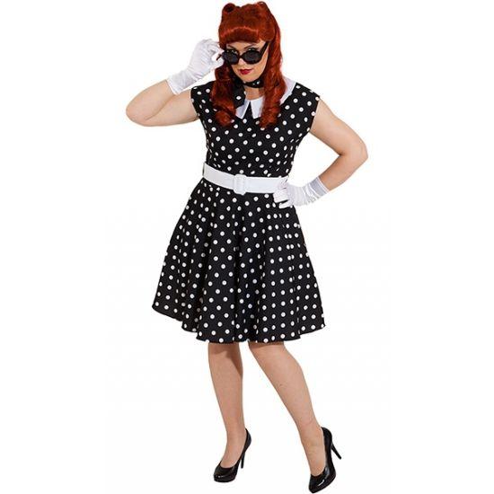 Rock n roll jurk zwart met wit. Zwarte jaren 50 jurk met petticoat en witte stippen. Inclusief riem.