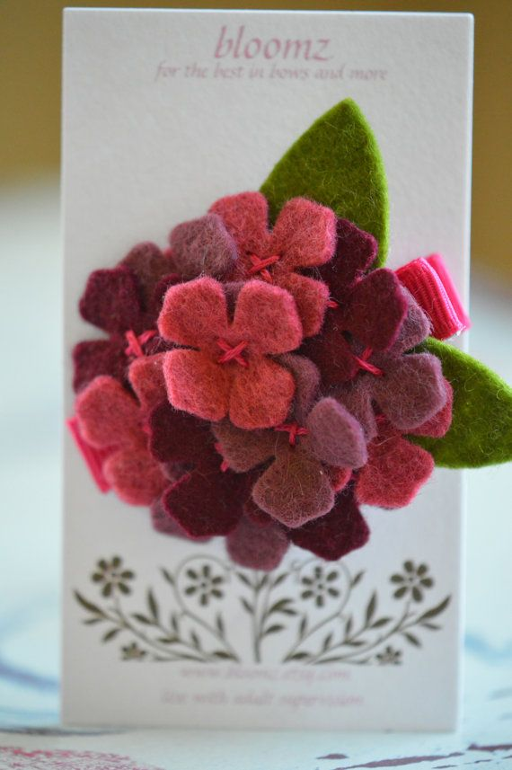 Hydrangea Hair Clip   http://www.etsy.com/listing/156169462/felt-flower-hydrangea-hair-clip-in?ref=shop_home_active_5