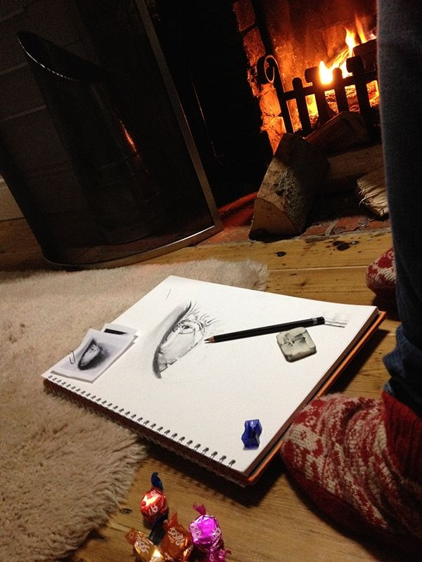 34, drawing eyes in front of the fire practice on Behance Lucy Grafham