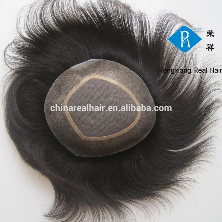 Top quality natural real human men hair toupee