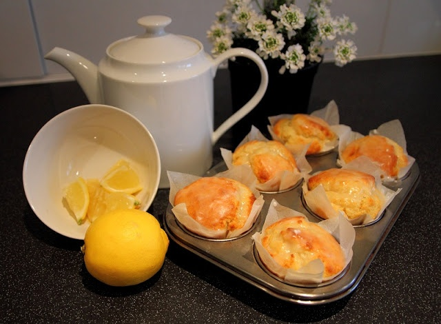 Deb's Dust Bunny- handmade muffin liners and Lemon Drizzle Muffins