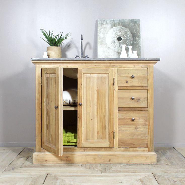 40 best meuble de salle de bain images on pinterest - Meuble vasque bois massif ...