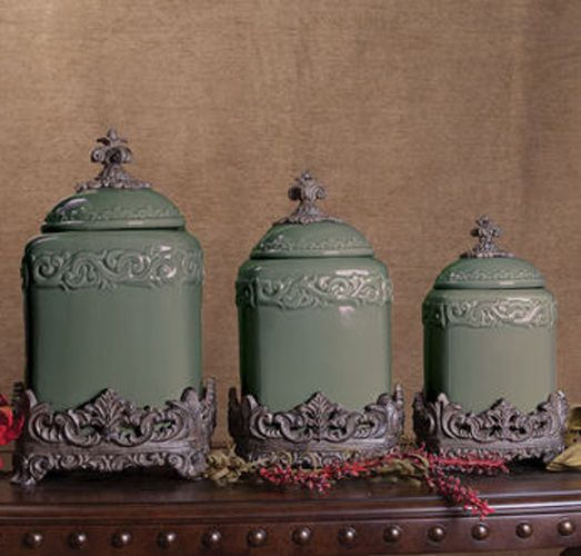 ... Tuscan Style Kitchen Canister Sets Set Of 3 Green Fleur De Lis Kitchen  Canister Set Tuscan ...