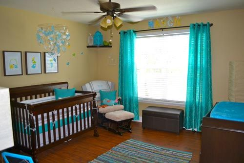 baby boy bird theme nursery reveal view from door includes the crib wall and window with teal curtains