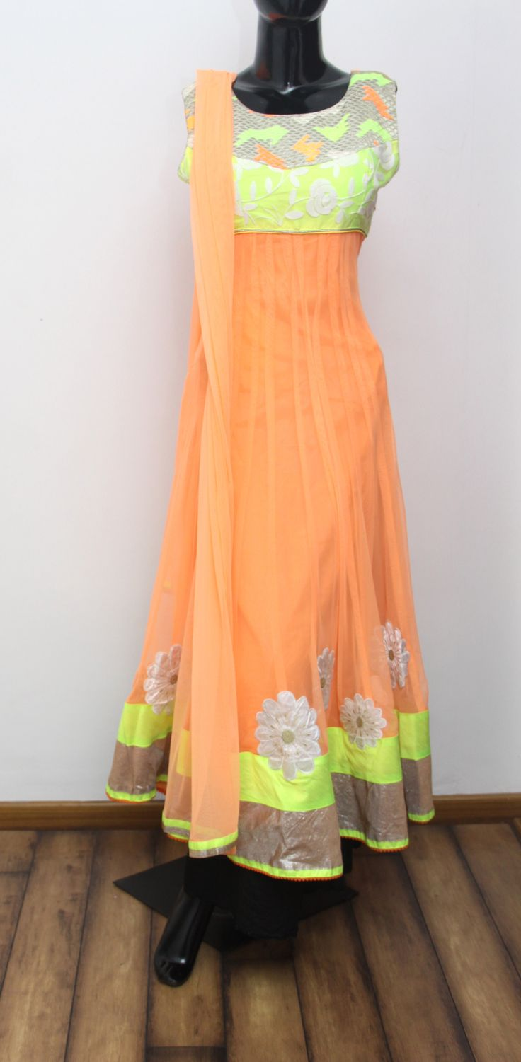 Electric Orange Anarkali. Net Dupatta with Border. Code - 2283 INR- 5450/-  Visit us at ZIA, Adyar, Chennai or SHOP ONLINE @ ZIA, Adyar with a simple mail. Products delivered to your Doorstep. Inquiries: info@ziaethnic.com / 044 - 43605070