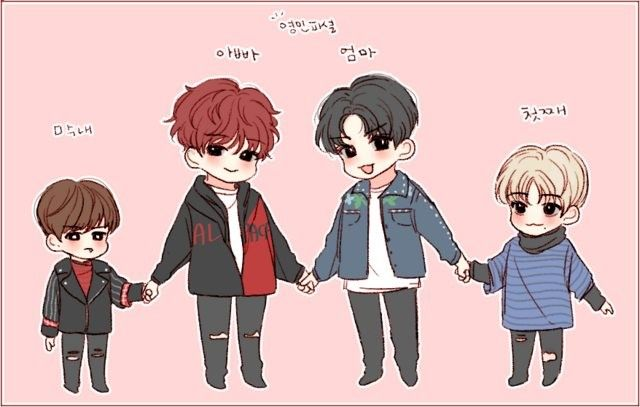 Cr.twitter @_chosi_ Brandnew Family❤ Father-youngmin Mother-donghyun Eldest son-daehwi Maknae-Woojin
