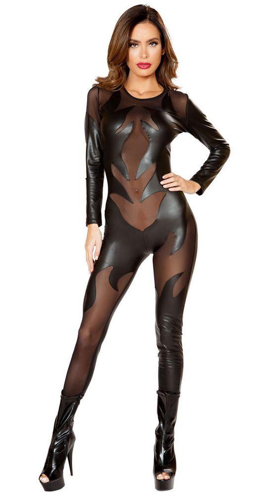 23b6664c2b779 Details about Roma Black Faux Leather Evil Devil Flame Cutout Catsuit  Costume 4812
