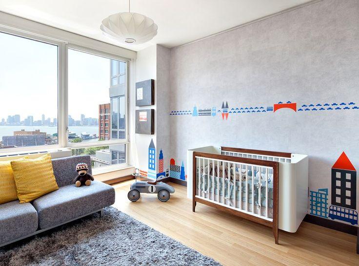 Contemporary Nursery with Upholstered sofa, Mural, Casa kids the ola! crib, Hardwood floors, Shag rug, flush light