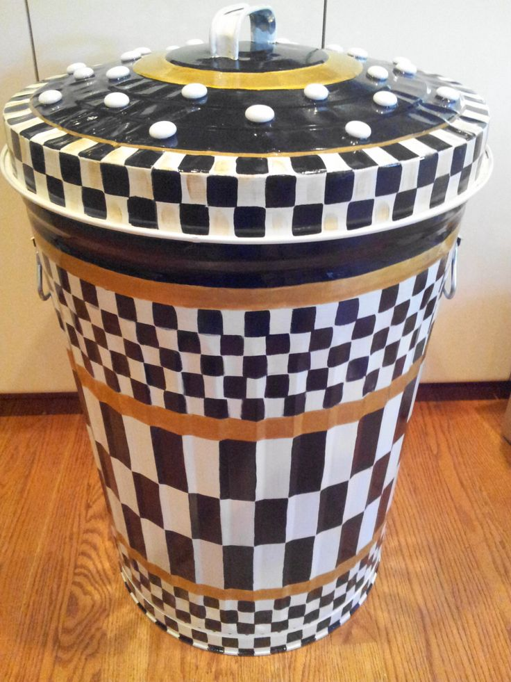 Hand Painted 20 Gallon Galvanized Metal Trash/Garbage/Storage Can - Courtly check and ceramic polka dots on lid by krystasinthepointe on Etsy