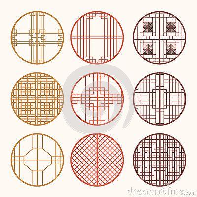 Korean old of Window Frame Symbol sets. Korean traditional Patte