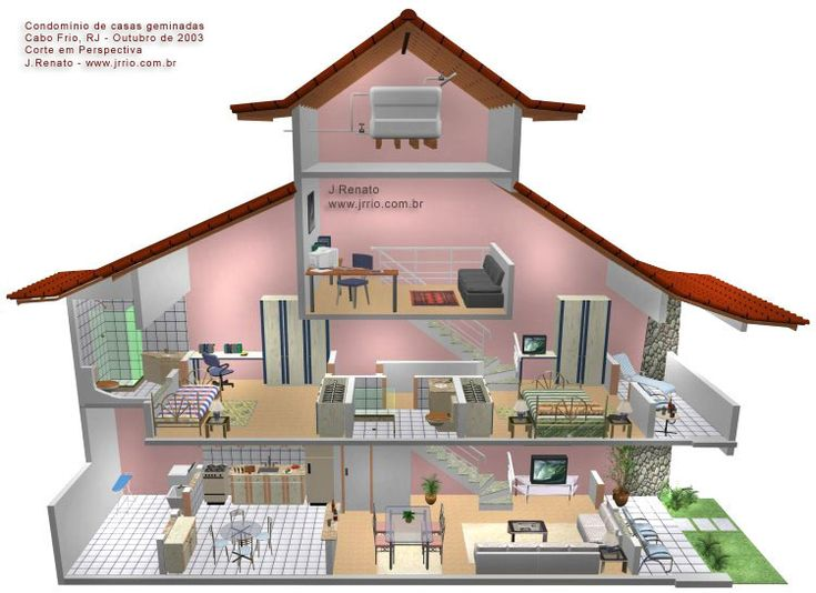 3d Cutaway Illustration Of Attached House With Three