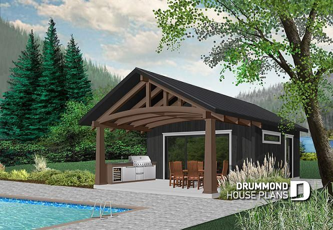 Discover The Plan 1911 Cabana Which Will Please You For Its 1 Bedrooms And For Its Modern Rustic Styles Pool House Designs Pool House Plans Pool House Shed