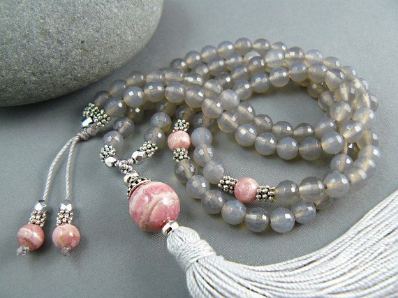 Rhodochrosite and natural Agate Mala Beads - a beautiful gem combination for meditation practice….
