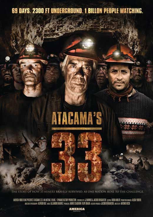 """The 33"""" tells the real life story of the 33 Chilean miners who were trapped more than 200 stories underground enduring 100 degrees Fahrenheit beneath a megaton boulder twice the size of the Empire State Building for 69 days following the collapse of the San Jose copper and gold mine."""