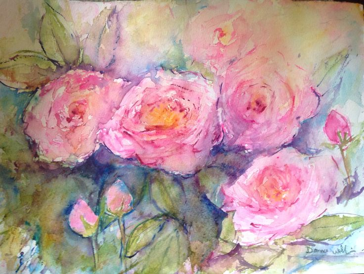 Watercolour roses by DonnaWollin