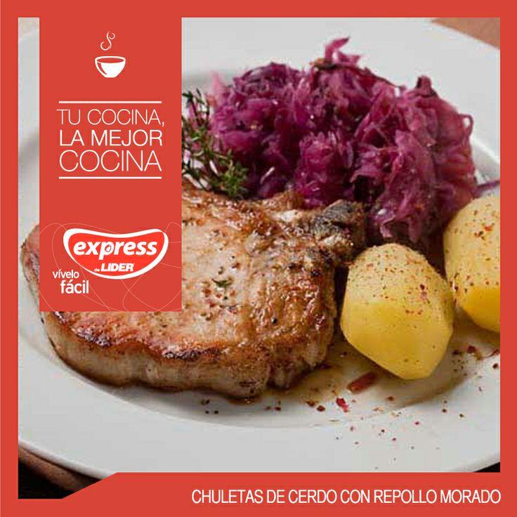 Chuletas de cerdo con repollo morado #Recetario #Receta #RecetarioExpress #Lider #Food #Foodporn #Mundial #Holanda