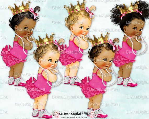 Baby Girl 3 Skin Tones Clipart Instant Download Princess Ruffle Pants Gray /& Pink Silver Tiara Sneakers Pearls