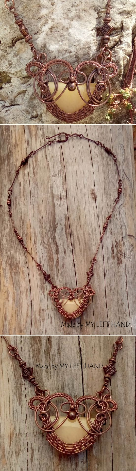 Wire wrapped copper necklace with natural Jade stone Copper wire jade necklace…