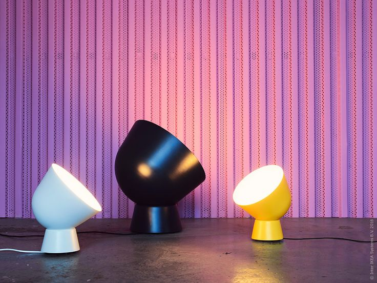 IKEA. The IKEA PS 2017 collection will launch in February 2017. Table lamp (white or yellow, diam. 23 cm), price in Finland EUR 29,95. Floor lamp (dark blue, diam. 45 cm) EUR 59.