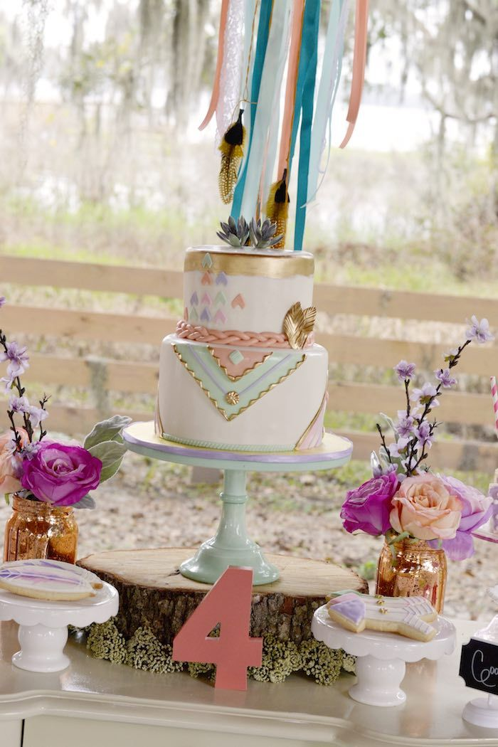 Cake Table from a Pocahontas Indian Boho Birthday Party via Kara's Party Ideas | KarasPartyIdeas.com (21)