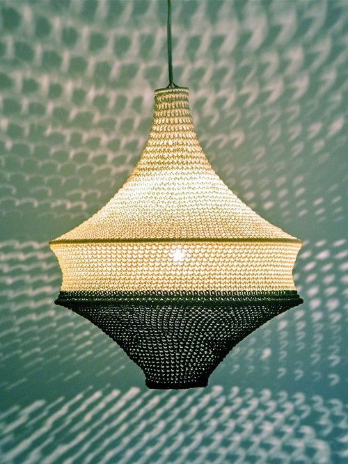 handmade crochet pendant light