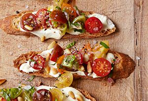 Tomato Crostini with Whipped Feta Recipe. I know I will love this
