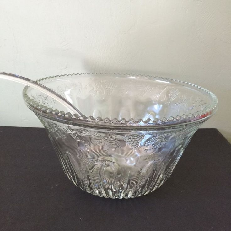 The set comes with a plastic ladle. The Punch bowl is in pristine condition and is very large, holding 1.7 quarts. The rim is lined with a wavy pattern and under the rim is an interweaving leaf and grape pattern. | eBay!