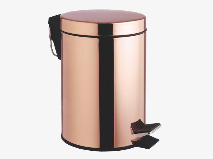 COLLIER METALLIC Metal Copper metal peddle bathroom bin - HabitatUK