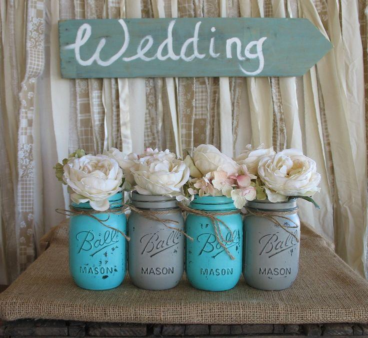 VERKOOP Set van 4 Pint Mason Jars bal potten geschilderd