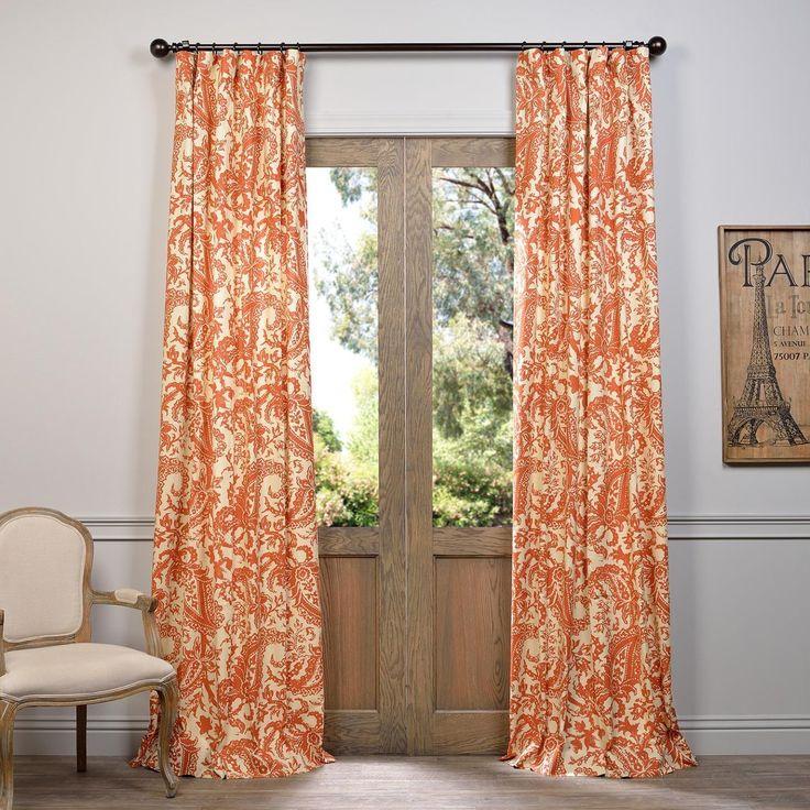 Exclusive Fabrics Edina Printed Cotton Curtain Panel (Rust 108L), Orange,  Size 50