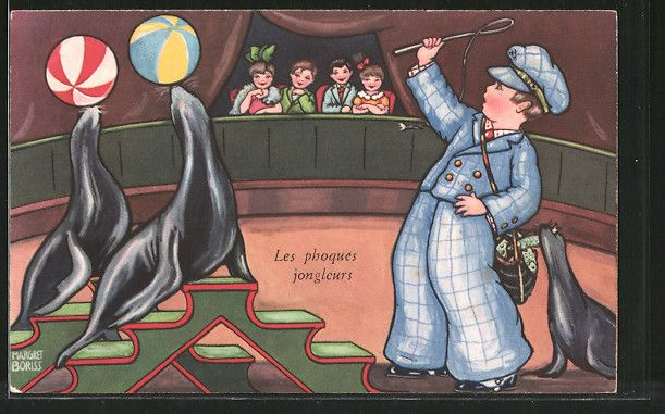 Künstler-AK Margret Boriss: Les phoques jongleurs, dressierte Seelöwen im Zirkus…