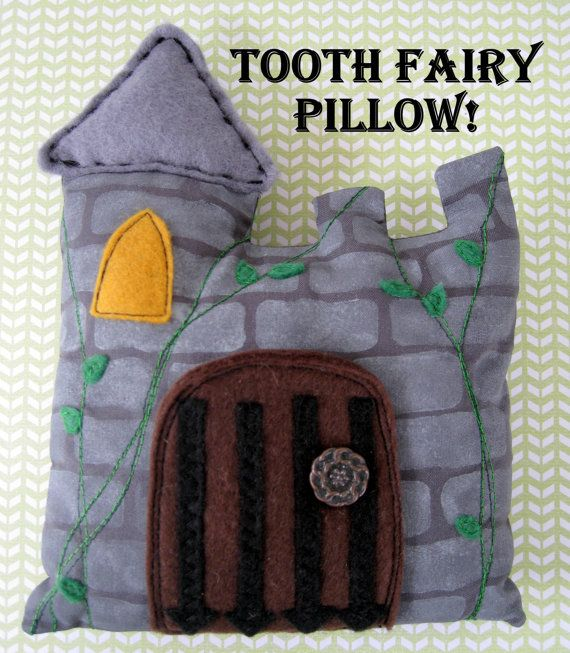 Handmade boys knight's castle drawbridge toothfairy pillow with functional drawbridge. Inside is a surprise pocket made of a embroidered vintage napkin, by boutique789