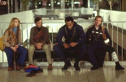 Gaylen Ross (Francine) David Emge (Stephen) Ken Foree (Peter) Scott H Reiniger (Roger) in Romero's Dawn Of The Dead