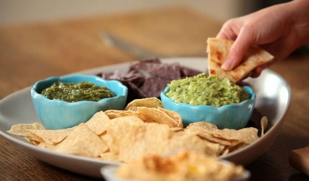 Guacamole and Salsa Verde is a easy and perfect dish to serve at your game day party. http://www.pinterest.com/gustotv/game-day-big-eats/