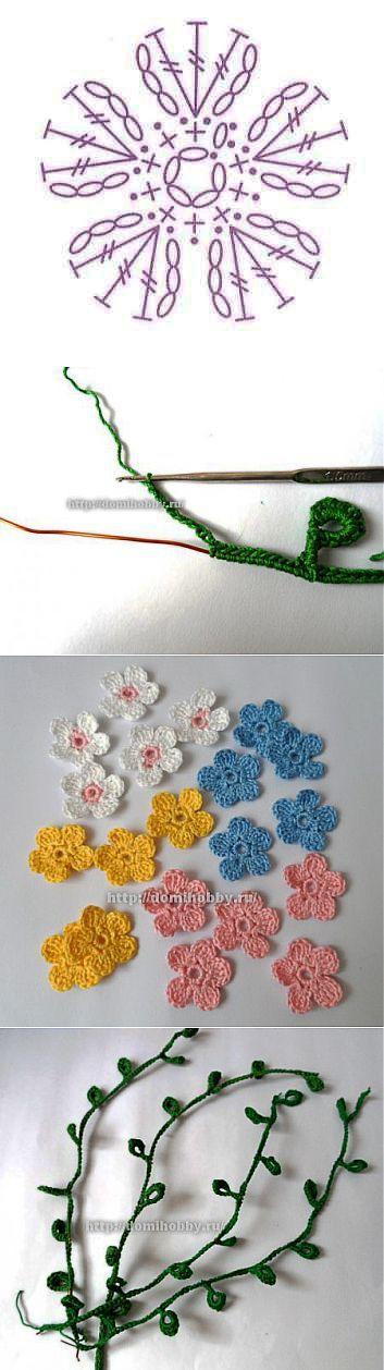 Весенний букет из вязаных веточек с цветами . | вязанные цветы | Постила
