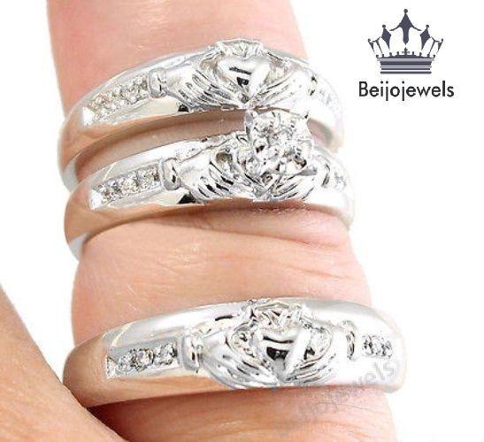irish claddagh style lab diamond 925 silver bridal wedding ring trio set 130 ct - Wedding Ring Trio Sets