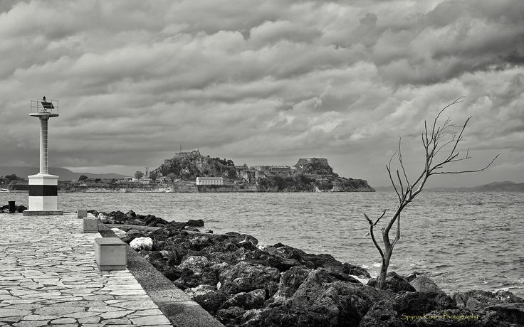 Monochrome, Black & White, Landscape, Photography, Greece, Corfu, Islands, Sea, Fortress, Rocks